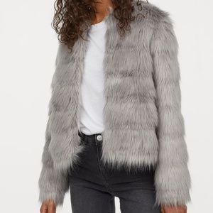 H&M Women's Faux Fur Jacket Grey (L) NWT